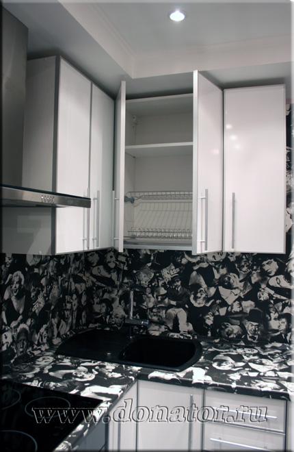 Белая глянцевая итальянская кухня ariel